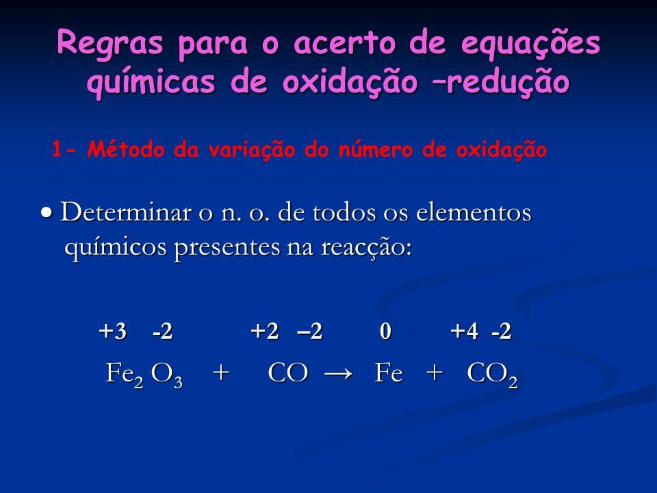 Regras para o acerto de equações químicas de oxidação –redução Determinar o n. o. de todos os elementos químicos presentes na reacção: Determinar o n.