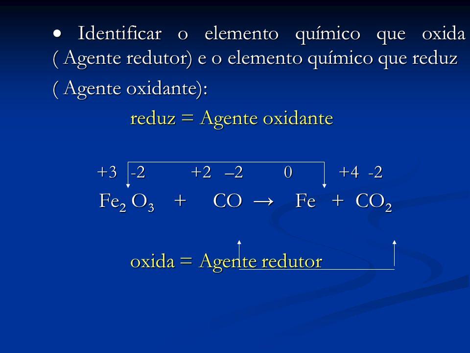 Identificar o elemento químico que oxida ( Agente redutor) e o elemento químico que reduz Identificar o elemento químico que oxida ( Agente redutor) e