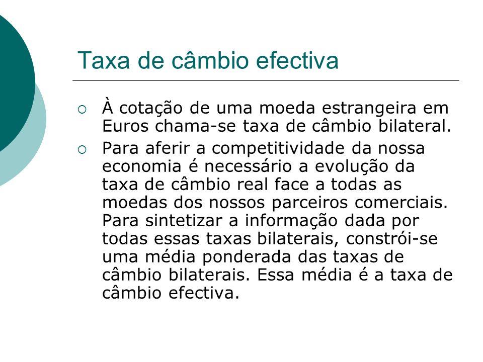 Taxa de câmbio efectiva À cotação de uma moeda estrangeira em Euros chama-se taxa de câmbio bilateral. Para aferir a competitividade da nossa economia