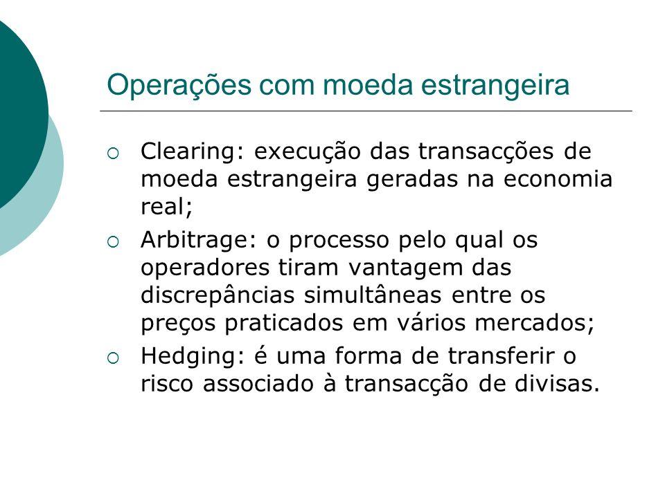Operações com moeda estrangeira Clearing: execução das transacções de moeda estrangeira geradas na economia real; Arbitrage: o processo pelo qual os o