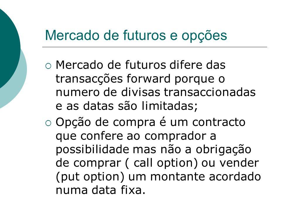 Mercado de futuros e opções Mercado de futuros difere das transacções forward porque o numero de divisas transaccionadas e as datas são limitadas; Opç