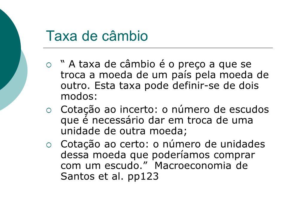 Taxa de câmbio A taxa de câmbio é o preço a que se troca a moeda de um país pela moeda de outro. Esta taxa pode definir-se de dois modos: Cotação ao i
