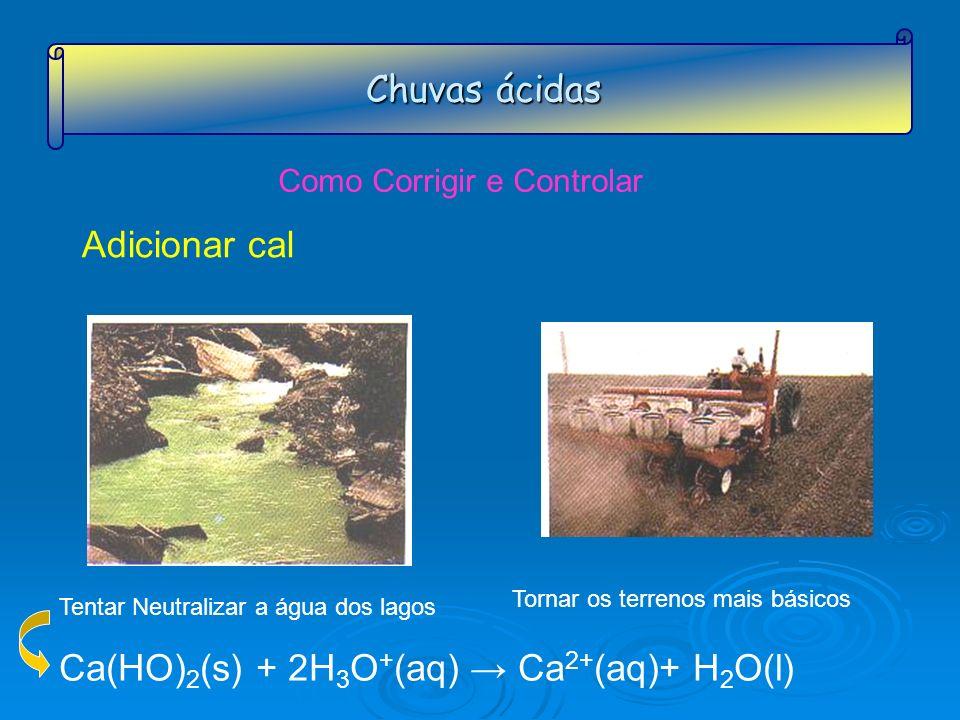 Chuvas ácidas Como Corrigir e Controlar Adicionar cal Ca(HO) 2 (s) + 2H 3 O + (aq) Ca 2+ (aq)+ H 2 O(l) Tentar Neutralizar a água dos lagos Tornar os