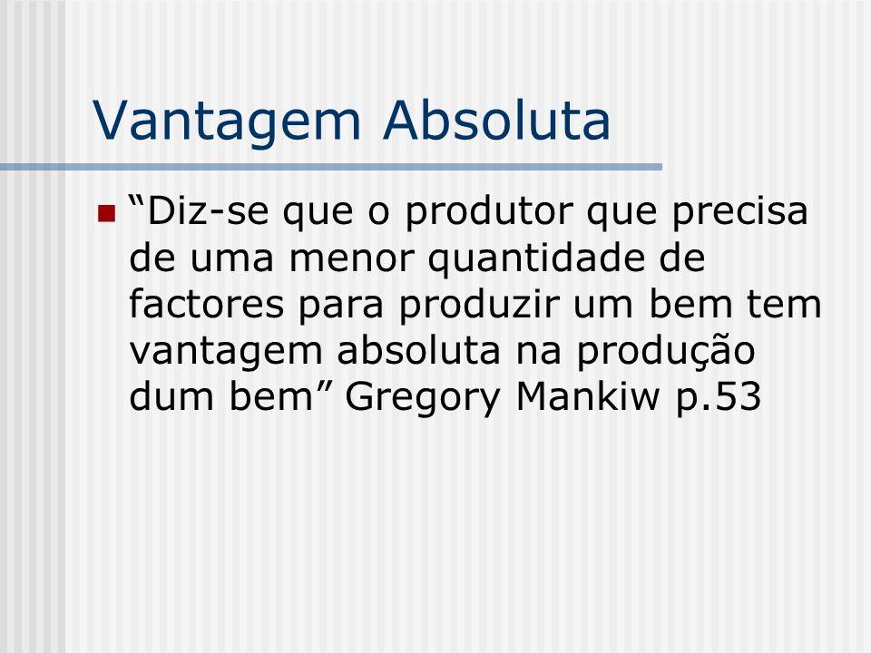 Vantagem Absoluta Diz-se que o produtor que precisa de uma menor quantidade de factores para produzir um bem tem vantagem absoluta na produção dum bem