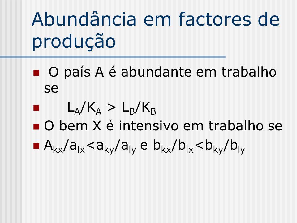 Abundância em factores de produção O país A é abundante em trabalho se L A /K A > L B /K B O bem X é intensivo em trabalho se A kx /a lx <a ky /a ly e