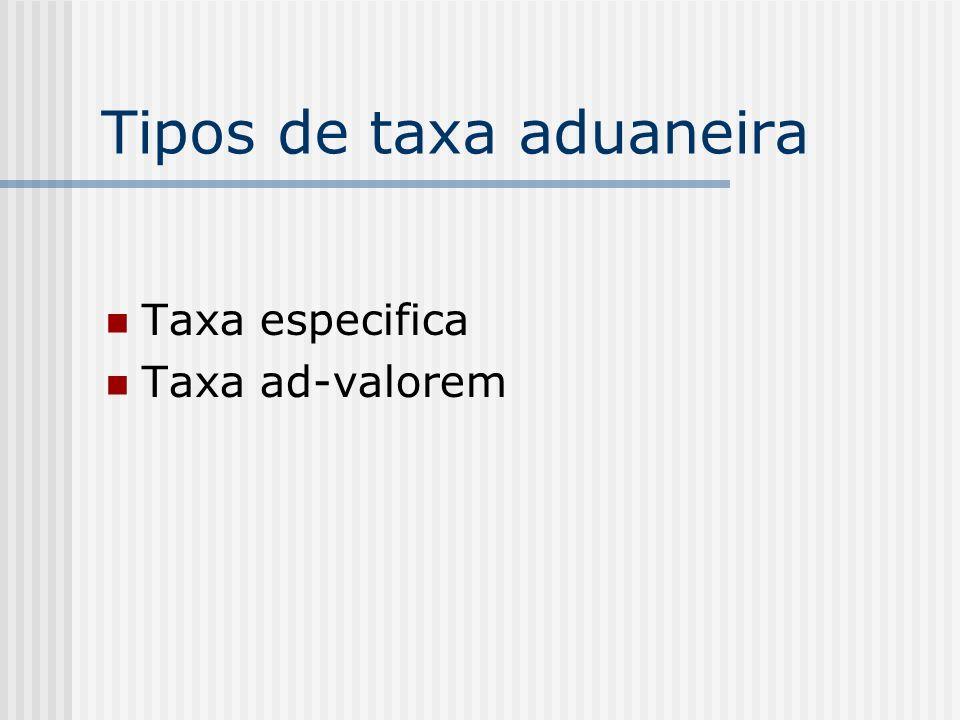 Tipos de taxa aduaneira Taxa especifica Taxa ad-valorem