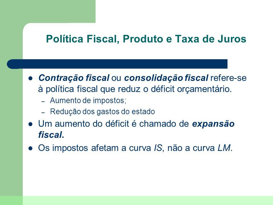 Política Fiscal, Produto e Taxa de Juros Contração fiscal ou consolidação fiscal refere-se à política fiscal que reduz o déficit orçamentário. – Aumen