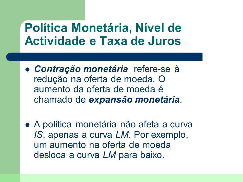 Política Monetária, Nível de Actividade e Taxa de Juros Contração monetária refere-se à redução na oferta de moeda. O aumento da oferta de moeda é cha