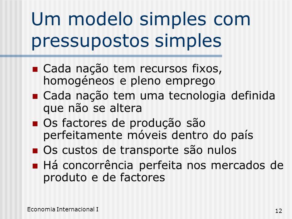Economia Internacional I 12 Um modelo simples com pressupostos simples Cada nação tem recursos fixos, homogéneos e pleno emprego Cada nação tem uma te