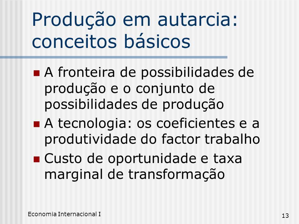 Economia Internacional I 13 Produção em autarcia: conceitos básicos A fronteira de possibilidades de produção e o conjunto de possibilidades de produç