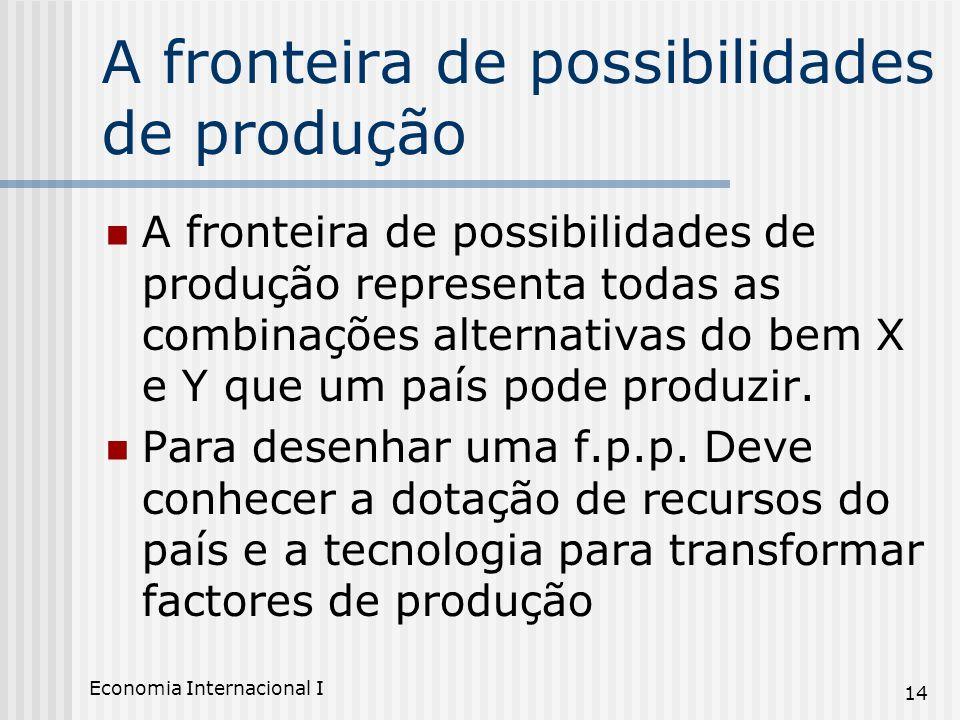 Economia Internacional I 14 A fronteira de possibilidades de produção A fronteira de possibilidades de produção representa todas as combinações altern