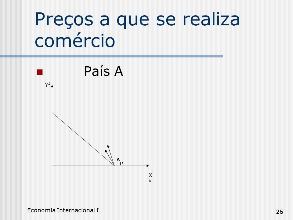 Economia Internacional I 26 Preços a que se realiza comércio País A XAXA YAYA ApAp