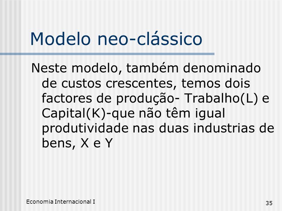 Economia Internacional I 35 Modelo neo-clássico Neste modelo, também denominado de custos crescentes, temos dois factores de produção- Trabalho(L) e C