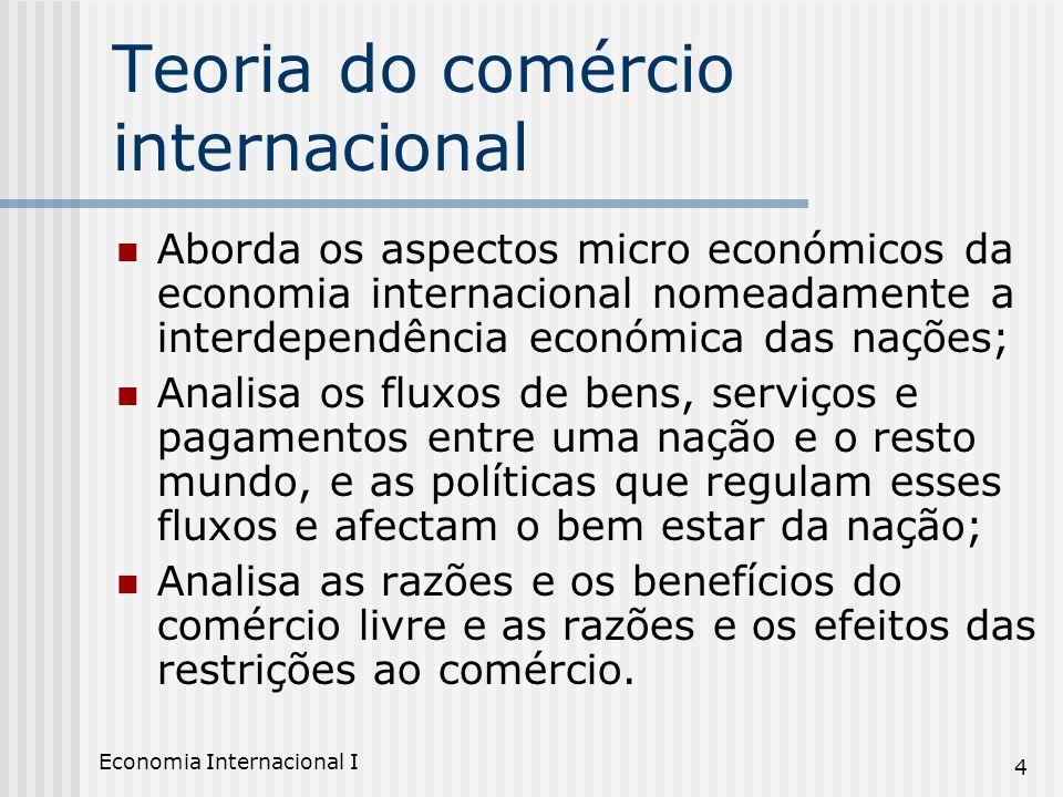 Economia Internacional I 4 Teoria do comércio internacional Aborda os aspectos micro económicos da economia internacional nomeadamente a interdependên