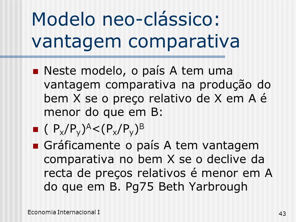 Economia Internacional I 43 Modelo neo-clássico: vantagem comparativa Neste modelo, o país A tem uma vantagem comparativa na produção do bem X se o pr