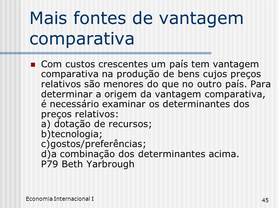 Economia Internacional I 45 Mais fontes de vantagem comparativa Com custos crescentes um país tem vantagem comparativa na produção de bens cujos preço