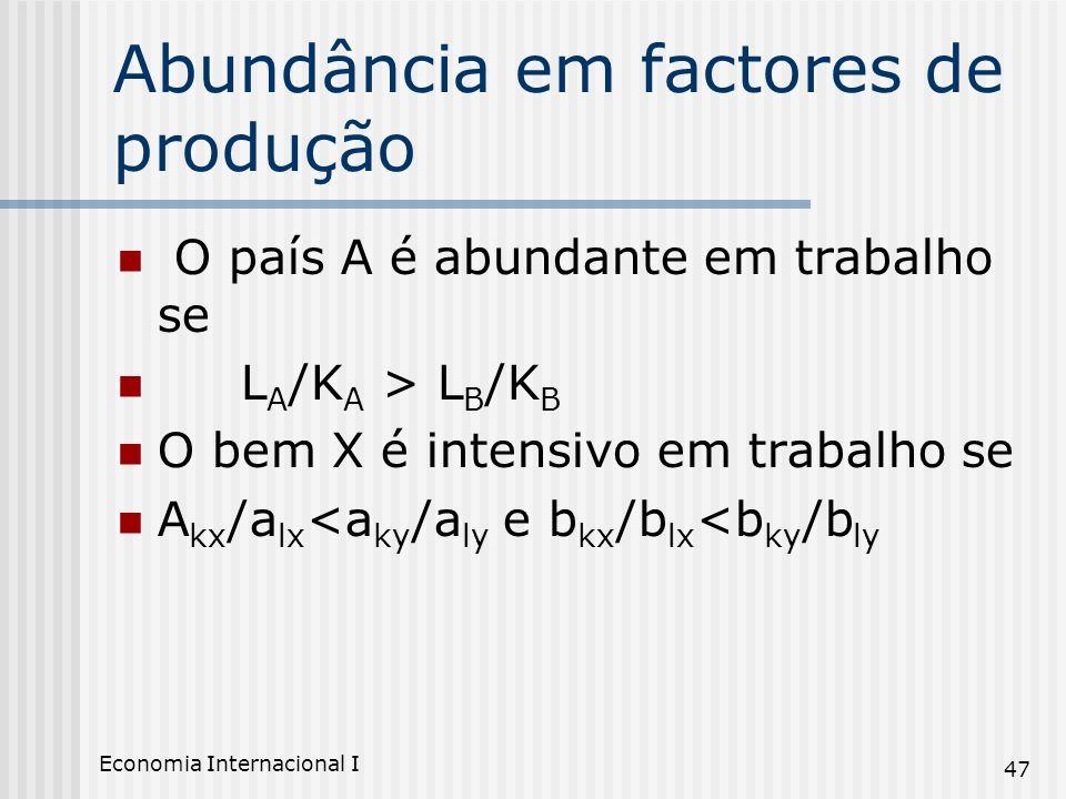 Economia Internacional I 47 Abundância em factores de produção O país A é abundante em trabalho se L A /K A > L B /K B O bem X é intensivo em trabalho