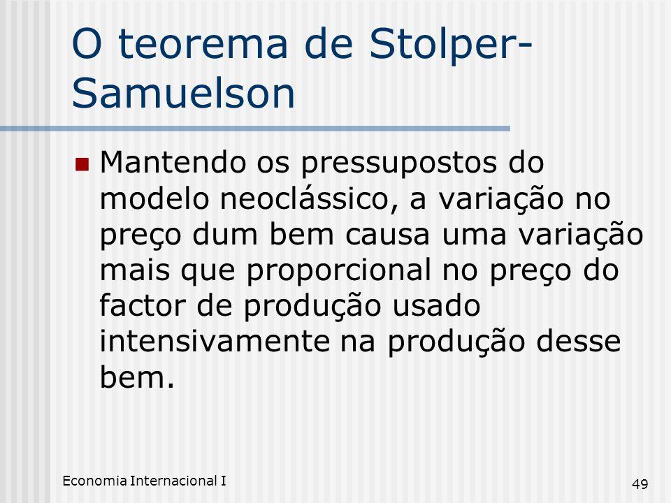 Economia Internacional I 49 O teorema de Stolper- Samuelson Mantendo os pressupostos do modelo neoclássico, a variação no preço dum bem causa uma vari
