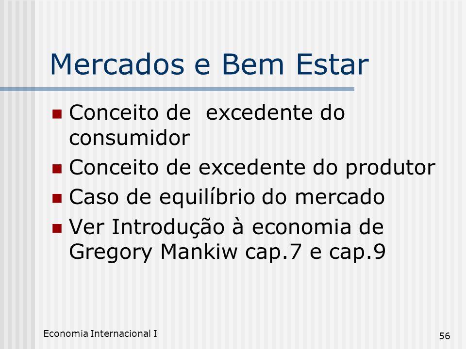 Economia Internacional I 56 Mercados e Bem Estar Conceito de excedente do consumidor Conceito de excedente do produtor Caso de equilíbrio do mercado V