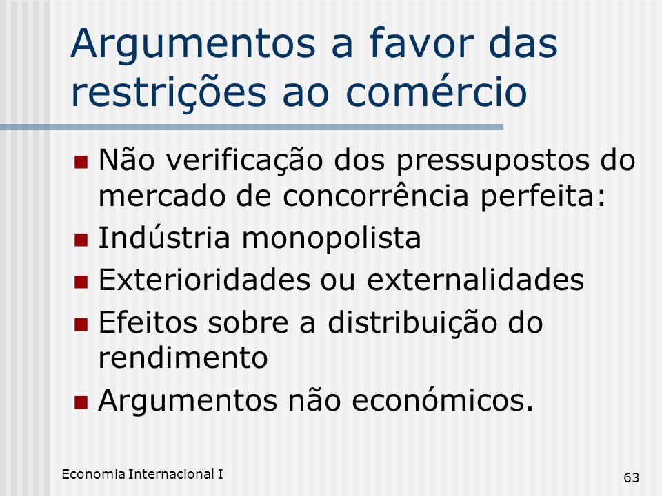 Economia Internacional I 63 Argumentos a favor das restrições ao comércio Não verificação dos pressupostos do mercado de concorrência perfeita: Indúst