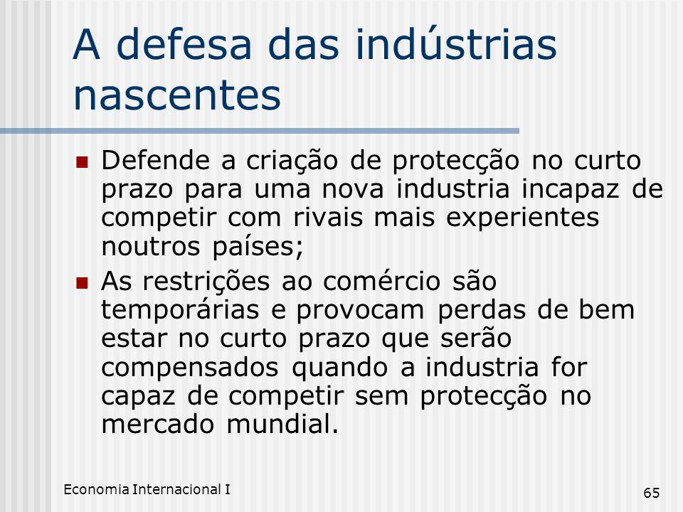 Economia Internacional I 65 A defesa das indústrias nascentes Defende a criação de protecção no curto prazo para uma nova industria incapaz de competi