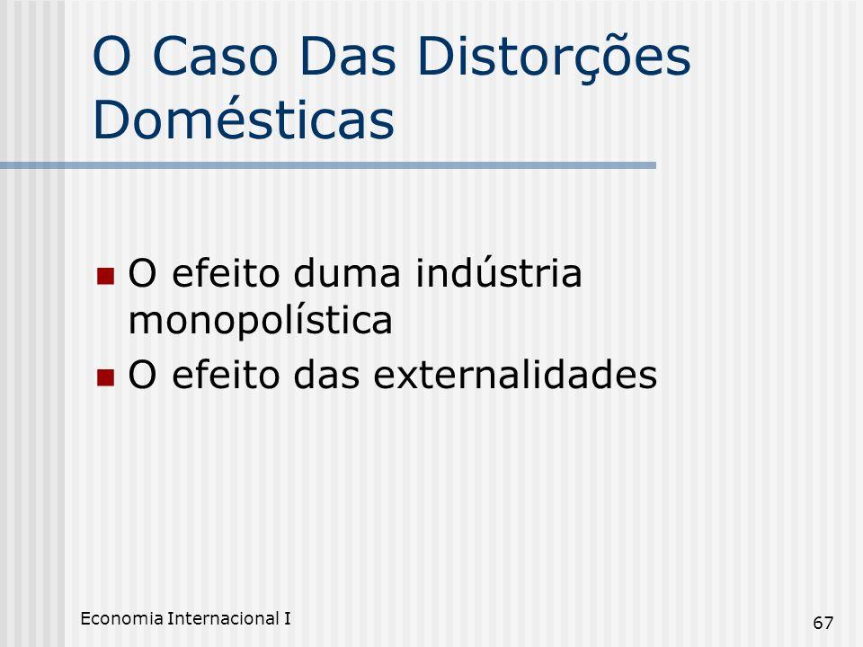 Economia Internacional I 67 O Caso Das Distorções Domésticas O efeito duma indústria monopolística O efeito das externalidades