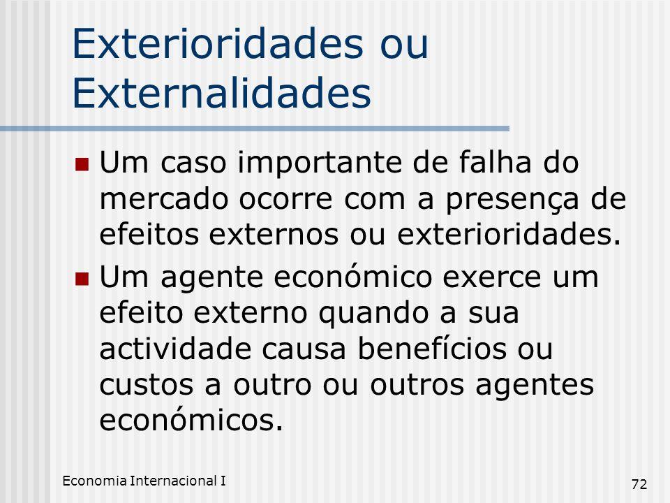 Economia Internacional I 72 Exterioridades ou Externalidades Um caso importante de falha do mercado ocorre com a presença de efeitos externos ou exter