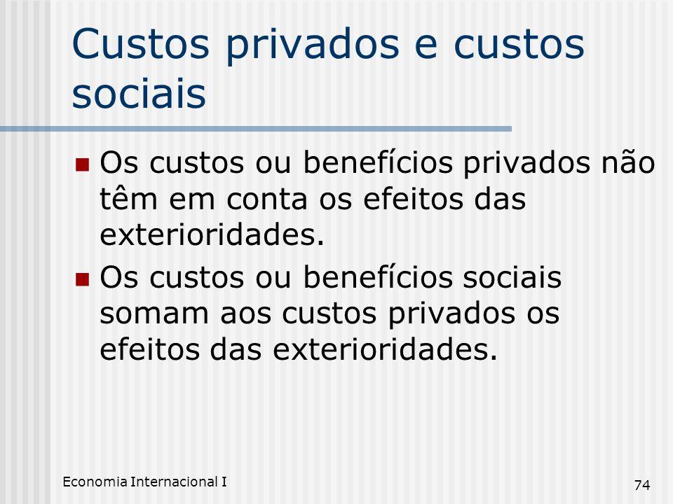 Economia Internacional I 74 Custos privados e custos sociais Os custos ou benefícios privados não têm em conta os efeitos das exterioridades. Os custo