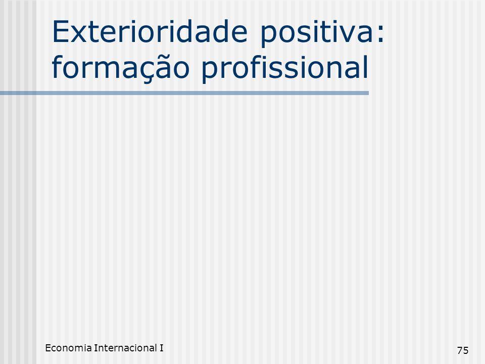 Economia Internacional I 75 Exterioridade positiva: formação profissional