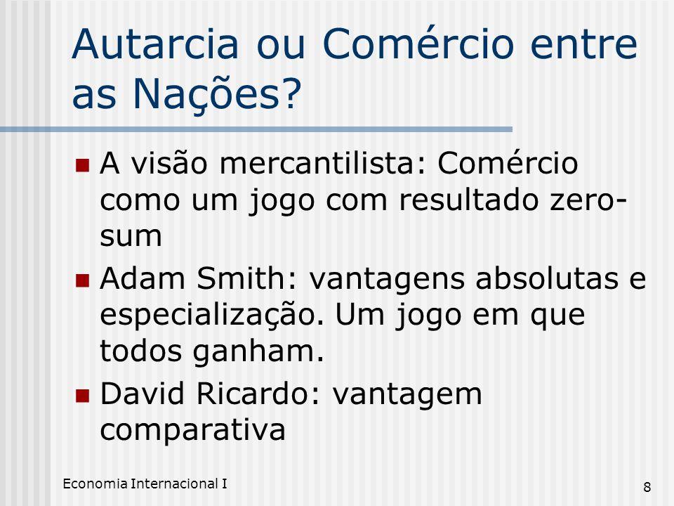 Economia Internacional I 8 Autarcia ou Comércio entre as Nações? A visão mercantilista: Comércio como um jogo com resultado zero- sum Adam Smith: vant