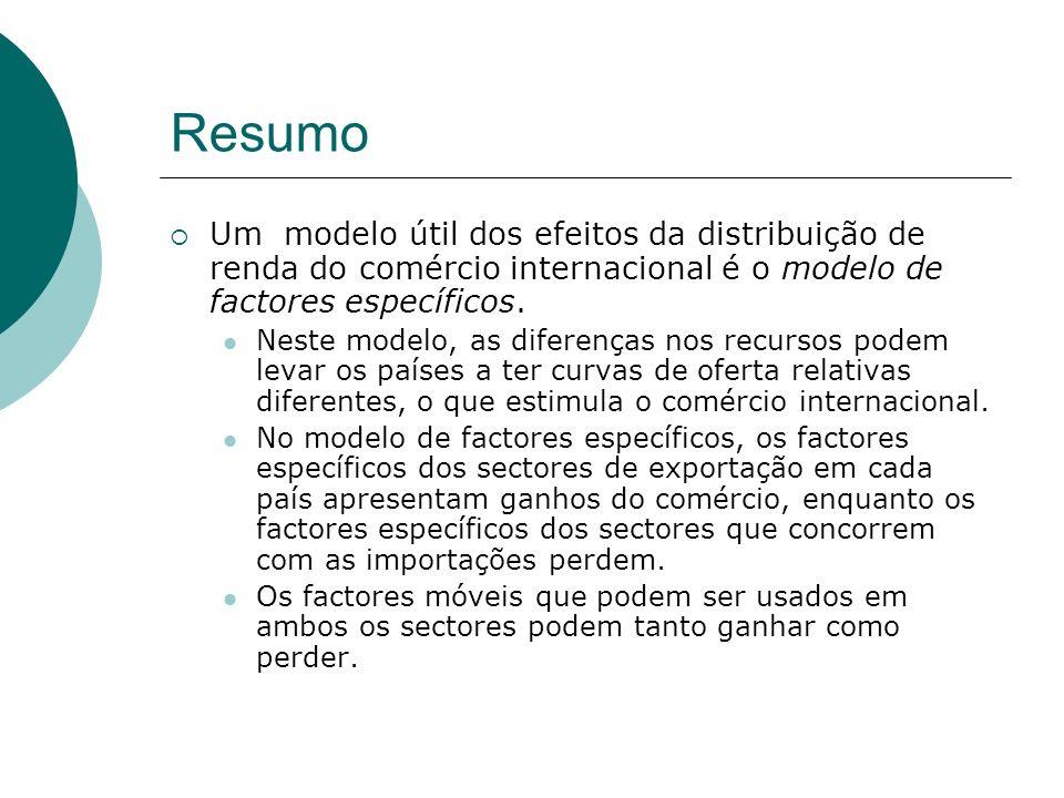Resumo Um modelo útil dos efeitos da distribuição de renda do comércio internacional é o modelo de factores específicos. Neste modelo, as diferenças n