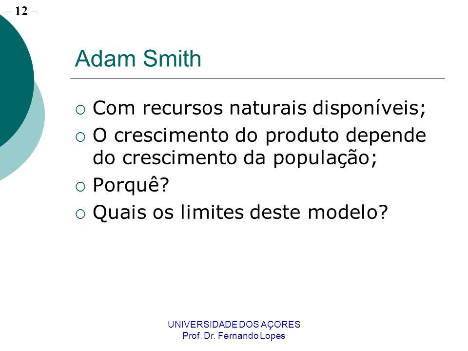– 11 UNIVERSIDADE DOS AÇORES Prof. Dr. Fernando Lopes Teorias do crescimento económico Adam Smith; O modelo de Malthus; O modelo de Solow;