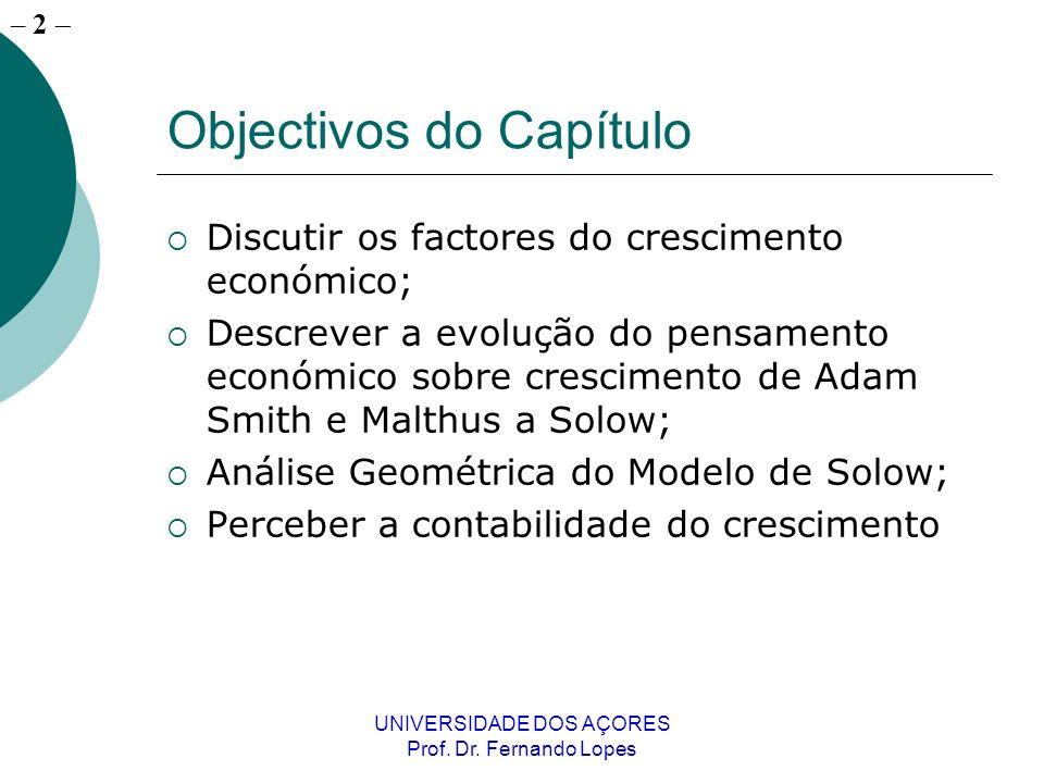 – 22 UNIVERSIDADE DOS AÇORES Prof. Dr. Fernando Lopes Capítulo 27 / Quadro 27-1