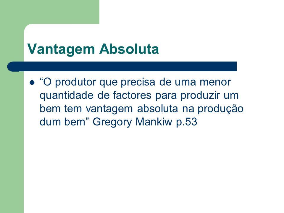 Vantagem Absoluta O produtor que precisa de uma menor quantidade de factores para produzir um bem tem vantagem absoluta na produção dum bem Gregory Ma