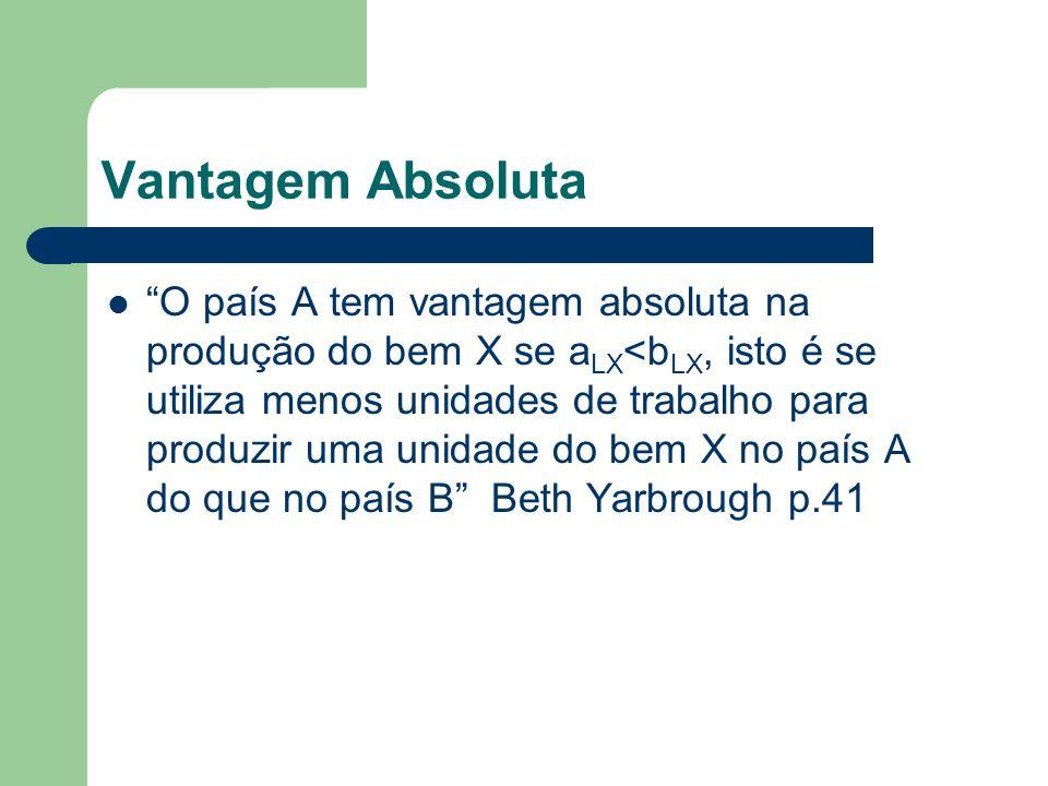 Vantagem Absoluta O país A tem vantagem absoluta na produção do bem X se a LX <b LX, isto é se utiliza menos unidades de trabalho para produzir uma un