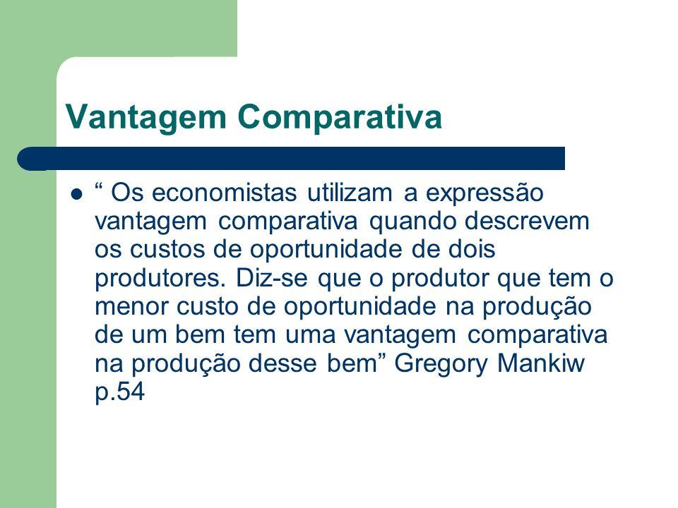 Vantagem Comparativa Os economistas utilizam a expressão vantagem comparativa quando descrevem os custos de oportunidade de dois produtores. Diz-se qu