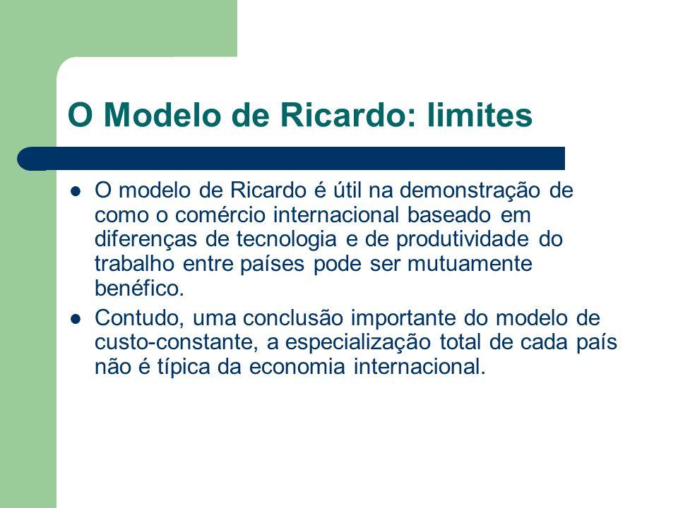 O Modelo de Ricardo: limites O modelo de Ricardo é útil na demonstração de como o comércio internacional baseado em diferenças de tecnologia e de prod