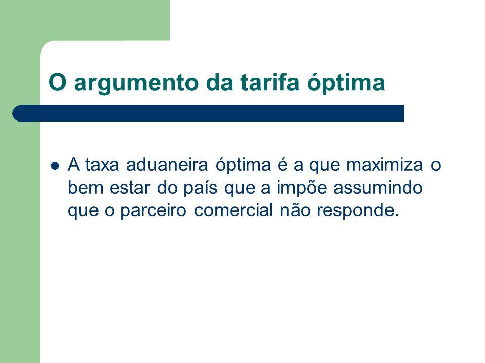 O argumento da tarifa óptima A taxa aduaneira óptima é a que maximiza o bem estar do país que a impõe assumindo que o parceiro comercial não responde.