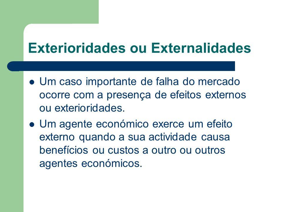 Exterioridades ou Externalidades Um caso importante de falha do mercado ocorre com a presença de efeitos externos ou exterioridades. Um agente económi