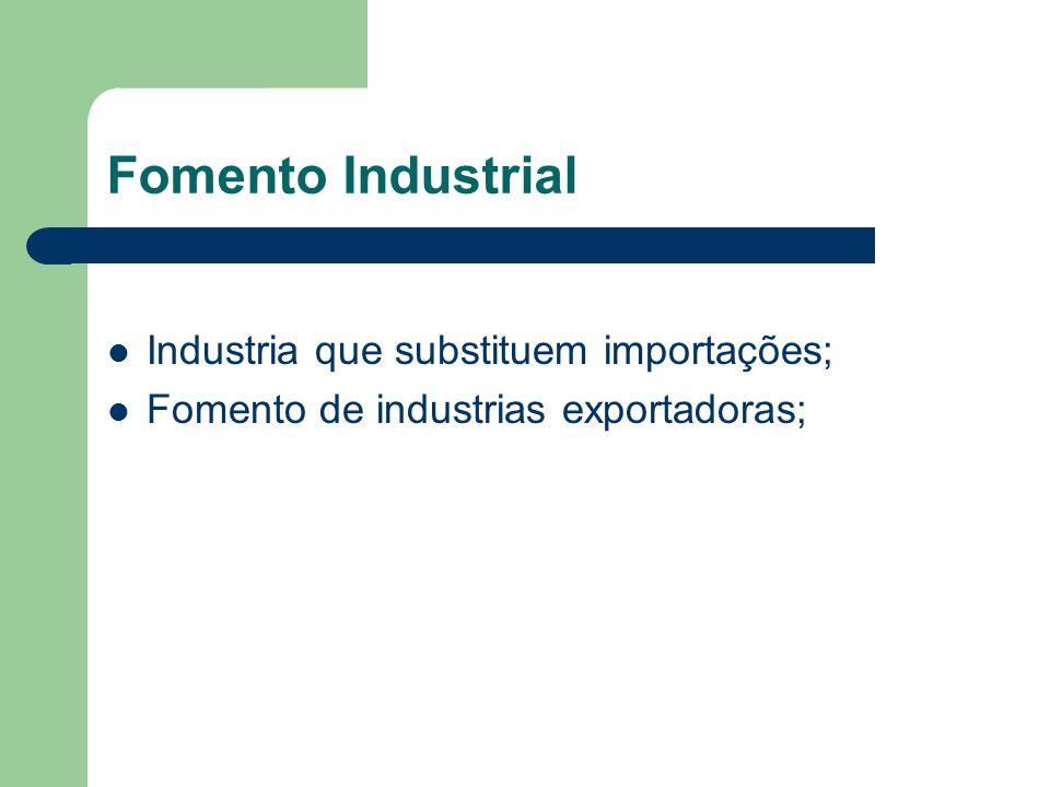 Fomento Industrial Industria que substituem importações; Fomento de industrias exportadoras;