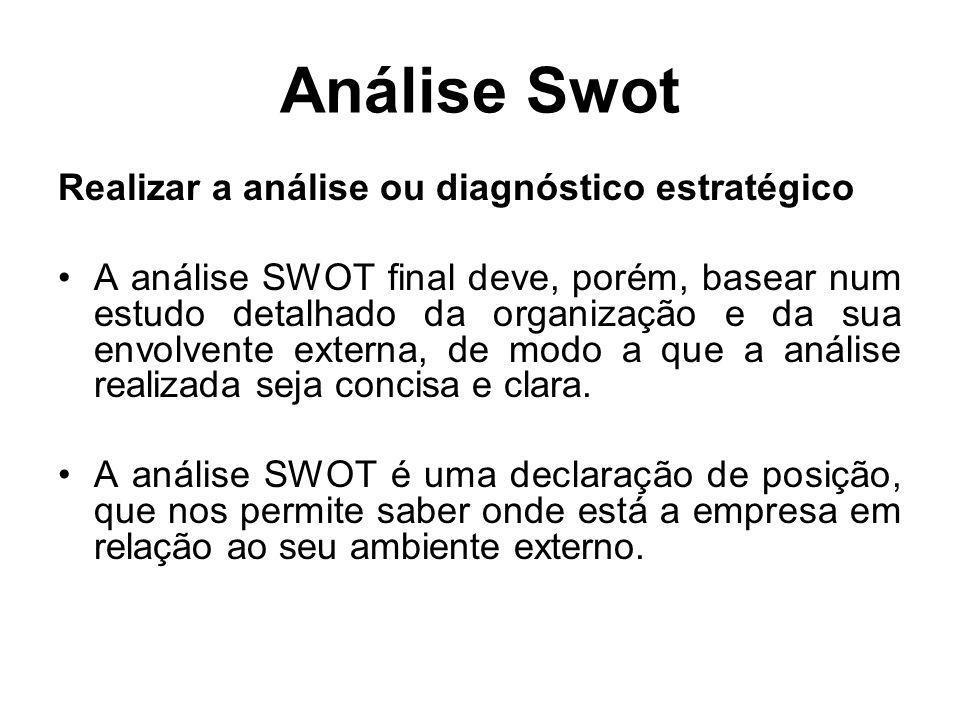 Análise Swot Realizar a análise ou diagnóstico estratégico A análise SWOT final deve, porém, basear num estudo detalhado da organização e da sua envol