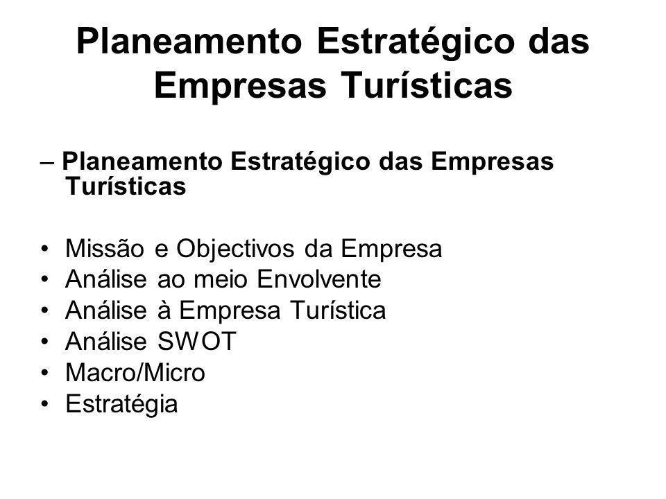 Planeamento Estratégico das Empresas Turísticas – Planeamento Estratégico das Empresas Turísticas Missão e Objectivos da Empresa Análise ao meio Envol