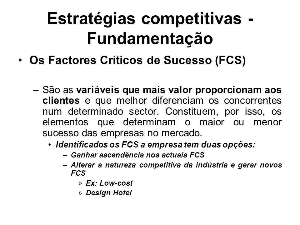 Estratégias competitivas - Fundamentação Os Factores Críticos de Sucesso (FCS) –São as variáveis que mais valor proporcionam aos clientes e que melhor