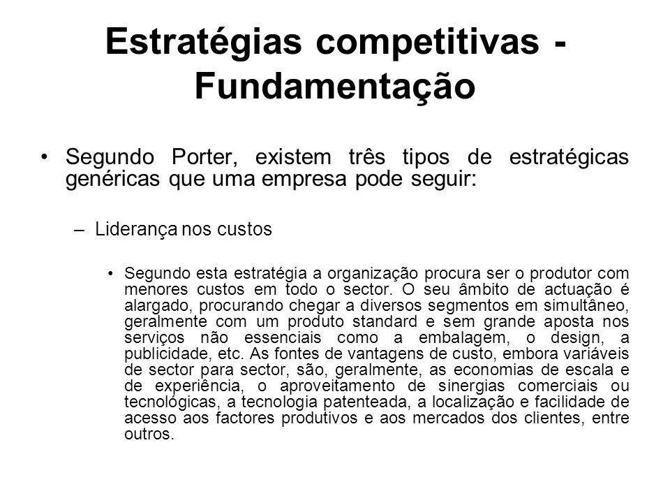 Estratégias competitivas - Fundamentação Segundo Porter, existem três tipos de estratégicas genéricas que uma empresa pode seguir: –Liderança nos cust
