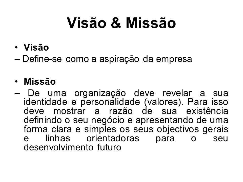 Visão & Missão Visão – Define-se como a aspiração da empresa Missão – De uma organização deve revelar a sua identidade e personalidade (valores). Para