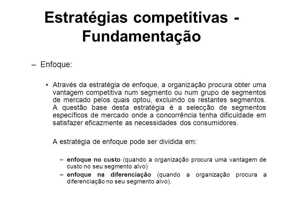 Estratégias competitivas - Fundamentação –Enfoque: Através da estratégia de enfoque, a organização procura obter uma vantagem competitiva num segmento