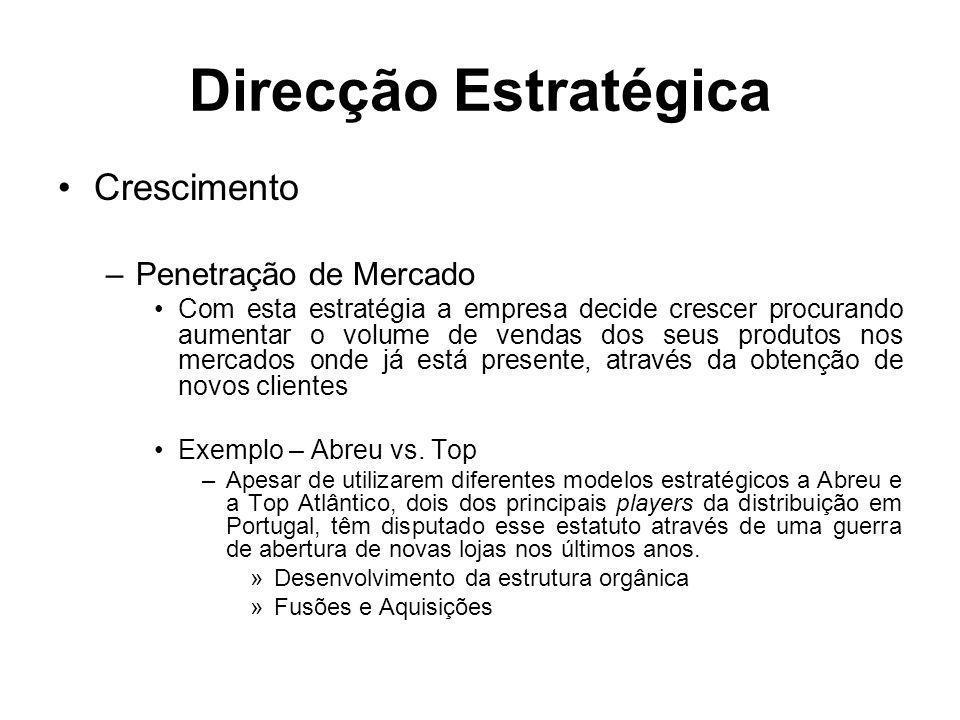 Direcção Estratégica Crescimento –Penetração de Mercado Com esta estratégia a empresa decide crescer procurando aumentar o volume de vendas dos seus p