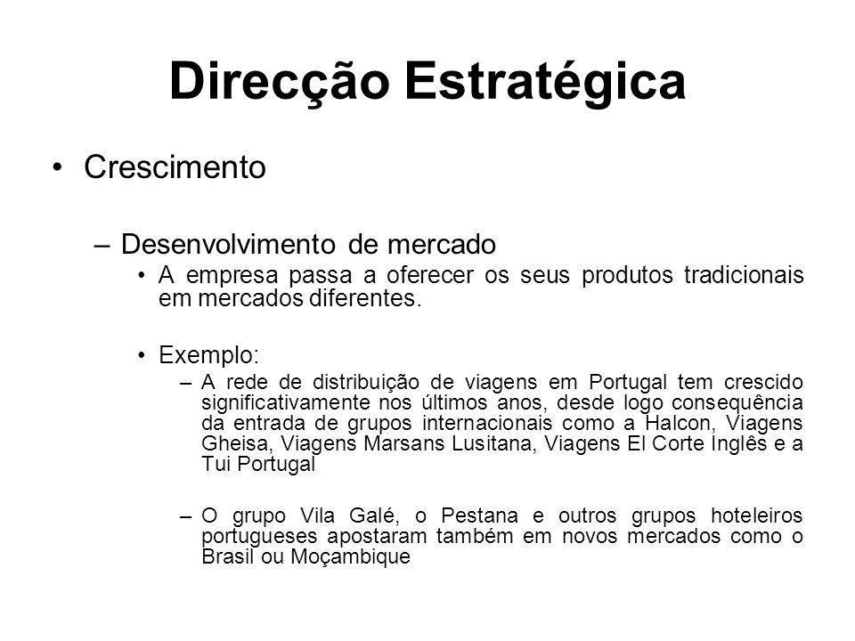 Direcção Estratégica Crescimento –Desenvolvimento de mercado A empresa passa a oferecer os seus produtos tradicionais em mercados diferentes. Exemplo: