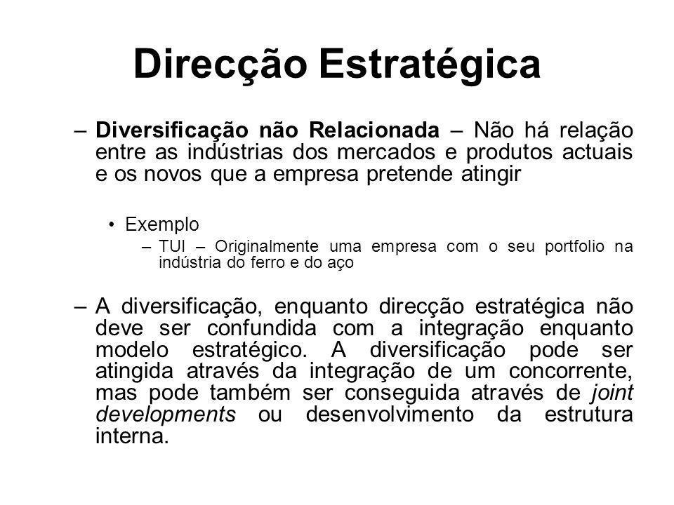 Direcção Estratégica –Diversificação não Relacionada – Não há relação entre as indústrias dos mercados e produtos actuais e os novos que a empresa pre