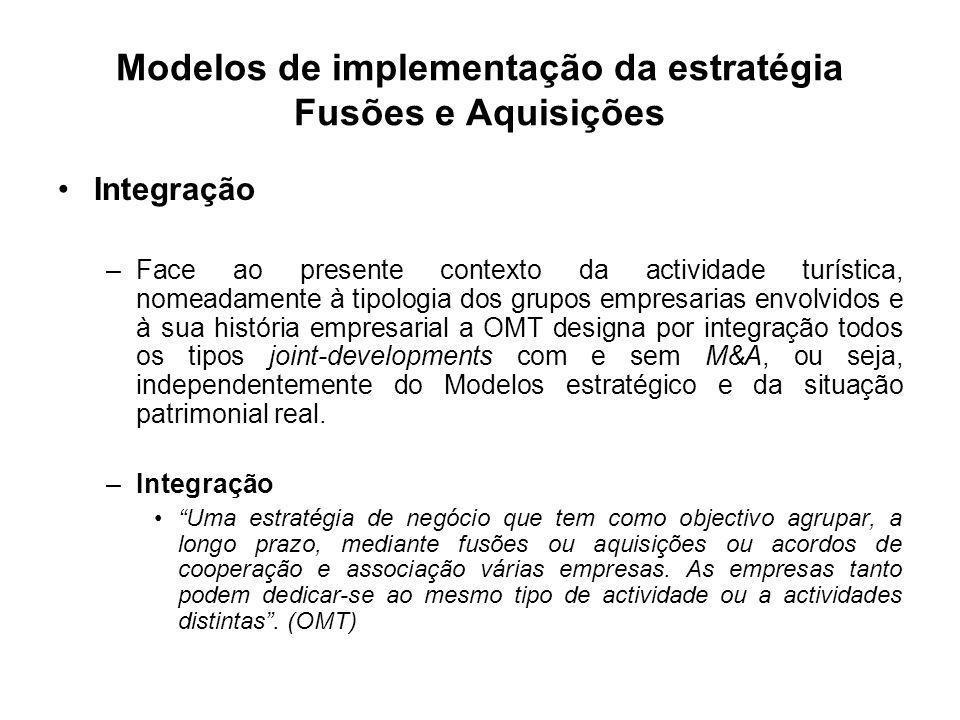 Modelos de implementação da estratégia Fusões e Aquisições Integração –Face ao presente contexto da actividade turística, nomeadamente à tipologia dos